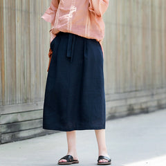 Blue Casual Linen Skirt Women Summer Loose Outfits Q11060