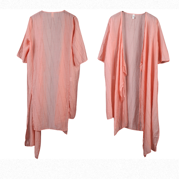 Summer Loose Long Shirt Women Casual Linen Blouse S11066