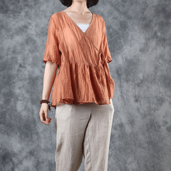 Women Pure Color Linen Blouse Summer Loose Thin Tops S11067