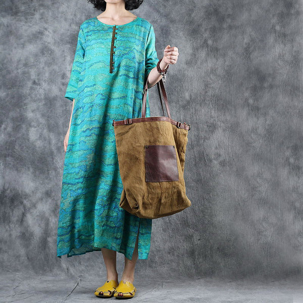 Loose Green Print Linen Summer Maxi Dresses For Women Q11061