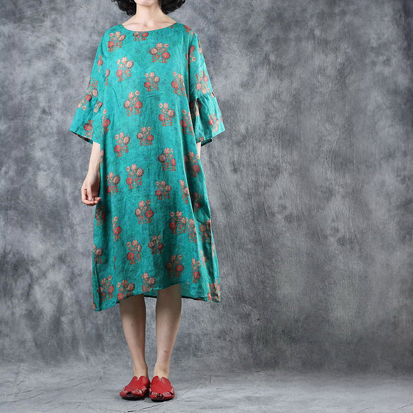 Summer Green Print Linen Loose Dresses Women Casual Clothes Q11062