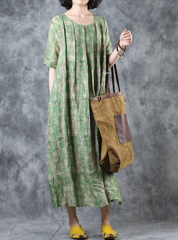 Summer Linen Loose Maxi Green Dresses For Women Q11066