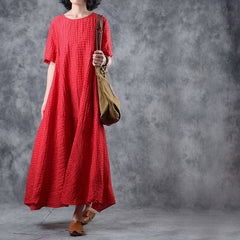 Red And White Summer Loose Dresses Women Long Linen Clothes Q11067