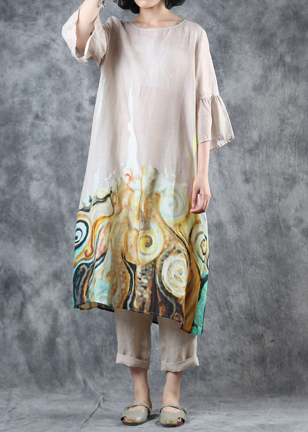 Women Loose White Print Linen Dresses Summer Casual Linen Clothes Q11068