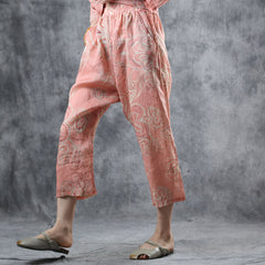 Cute Pink Print Linen Casual Pants Women Loose Trousers For Summer K10067