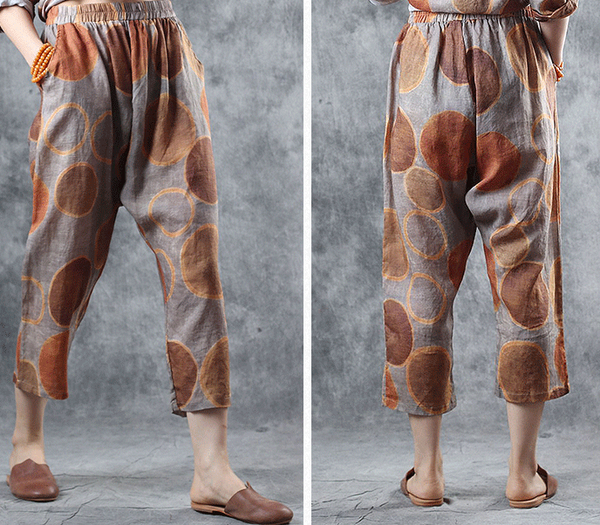 Summer Orange Print Linen Loose Pants Women Casual Trousers K10068
