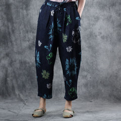 Blue Print Casual Harem Pants Women Summer Loose Trousers K10069