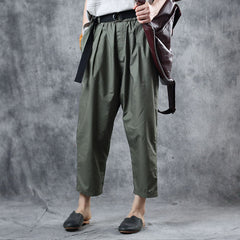 Women Casual Green Harem Pants Cotton Summer Trousers K11060