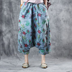 Loose Blue Print Cowboy Pants Women Casual Cotton Trousers K11061
