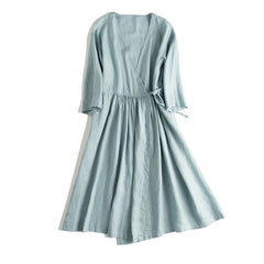 Loose Drawing Linen Summer Dresses Women Casual Long Clothes Q17062
