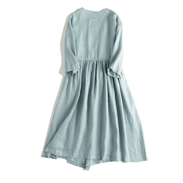 Loose Drawing Linen Summer Dresses Women Clothes