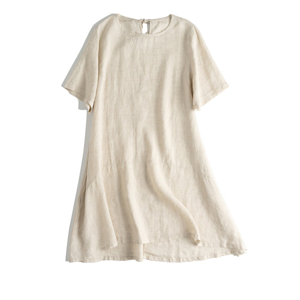 Casual Women Beige And Black Linen Dresses For Summer