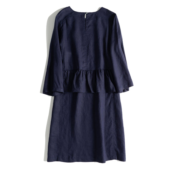 Blue And Yellow Linen Summer Dresses Women Loose Clothes Q17067