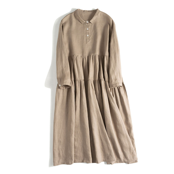 Women's Simple Linen Casual Long Sleeve Dress