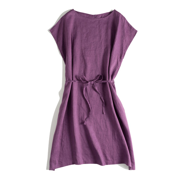 Loose Pure Color Summer Linen Dresses Women Casual Clothes Q18060