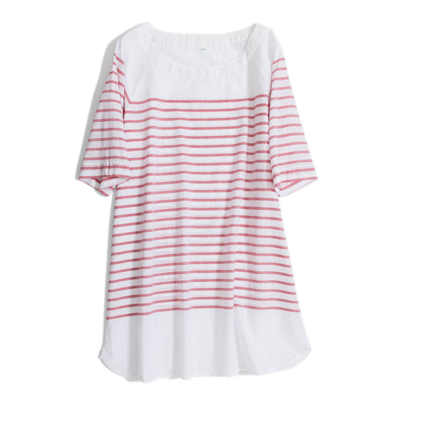 Loose Cotton Striped Summer Long Shirt Women Casual Blouse S17060