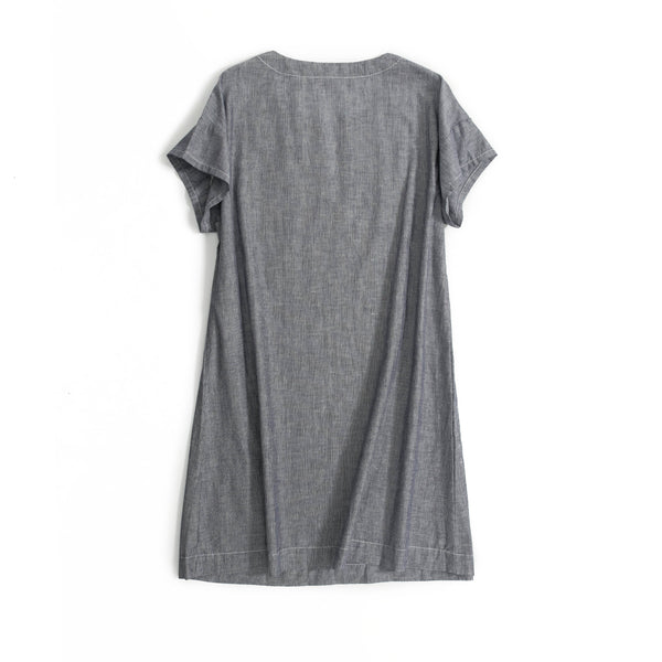 Casual Gray Striped Cotton Linen Dresses Women Summer Clothes Q18066