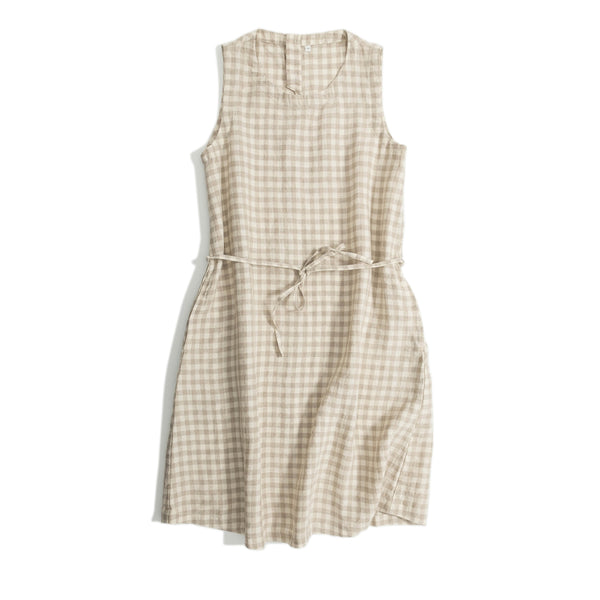 Women Loose Plaid Linen Sleeveless Dresses For Summer Q18068