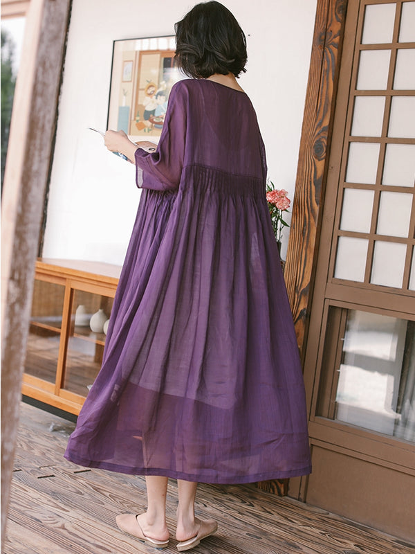 Summer Thin Linen Loose Dresses Women Casual Outfits Q19061