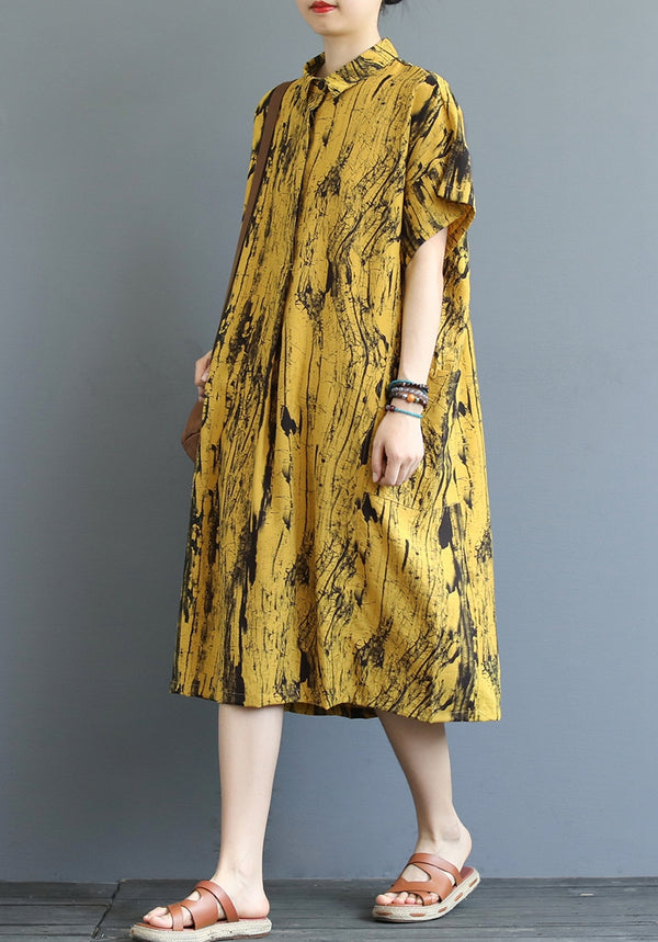 Loose Yellow And Khaki Print Summer Dresses For Women Q19066