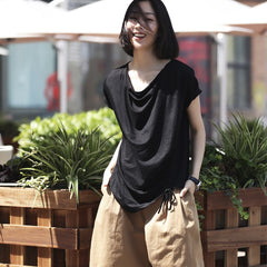 Loose Black Drawing Summer Shirt Women Casual Thin Tops T2178