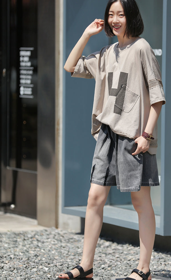 Summer Gray And Blue Cowboy Short Women Casual Denim Short Pants N2815