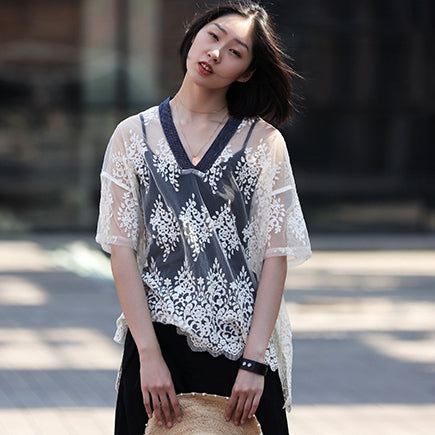 Elegant Beige Lace Shirt Women Summer Cool Outfits C9510