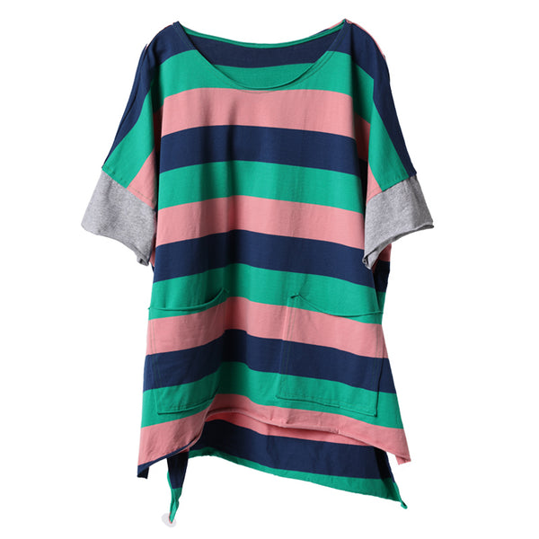 Loose Striped Cotton Shirt Summer Casual Blouse For Women T9310