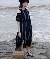Black Striped Summer Elegant Dresses Women Loose Outfits Q19068
