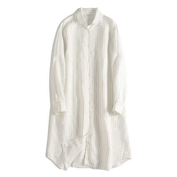 Loose White Striped Linen Shirt Dresses For Summer
