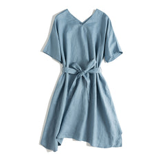 Casual Blue And Pink Linen Dresses With Belt For Women Q24061
