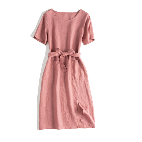 Women Casual Pure Color Linen Summer Dresses
