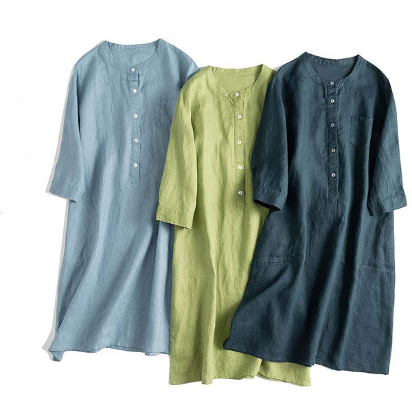 Simple Button Down Linen Dresses Women Loose Summer Clothes Q24063