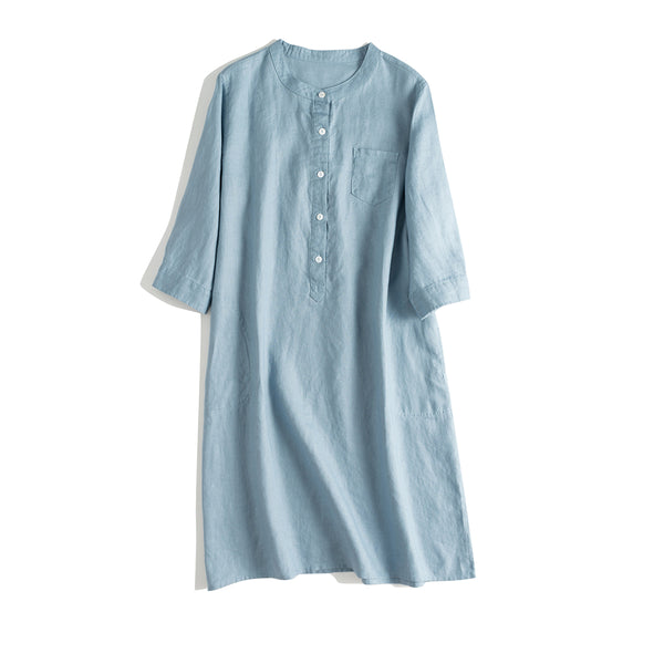 Simple Button Down Linen Dresses Women