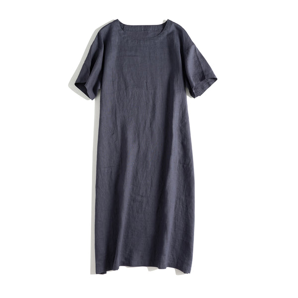 Women Casual Pure Color Linen Dresses For Summer