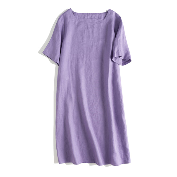 Loose A Line Simple Linen Dresses For Summer Q24065