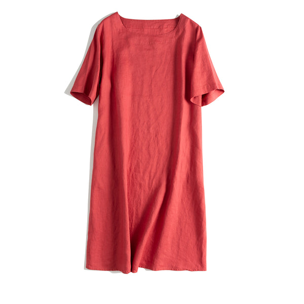 Loose A Line Simple Linen Dresses For Summer