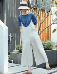 Loose Beige And Blue Linen Wide-leg Overalls For Women X8479
