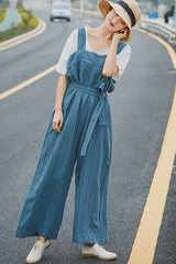 Women Blue Striped Linen Overalls Loose Wide Legs