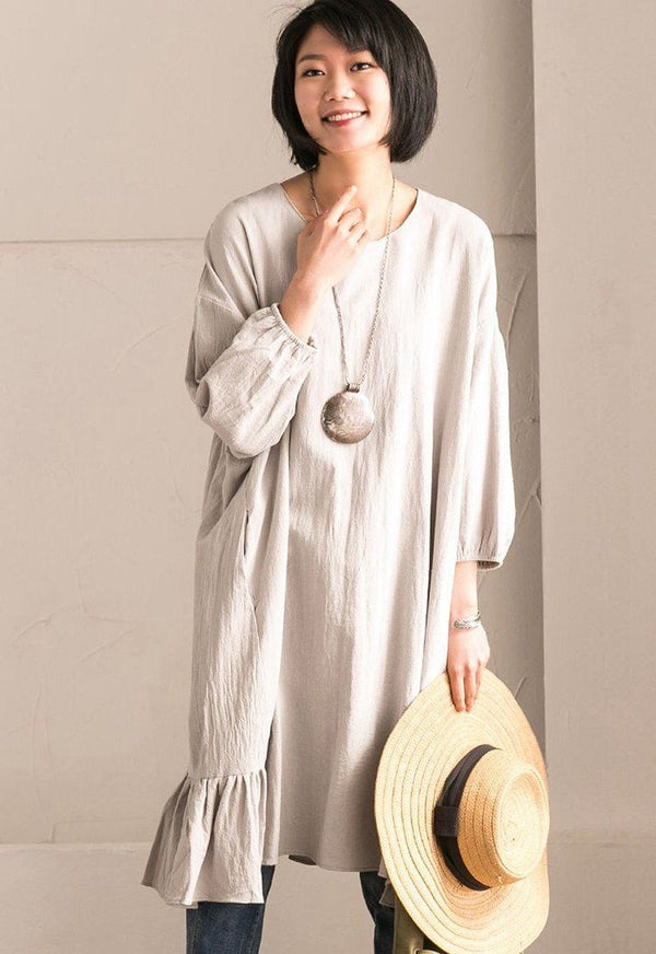 Gray Green Korean Style Cotton Linen Falbala Bat Sleeve Round Neck Loose Women Clothes Q8300B - FantasyLinen