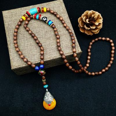 China Style Vintage Wooden Summer Necklace Women Accessories D3100A - FantasyLinen