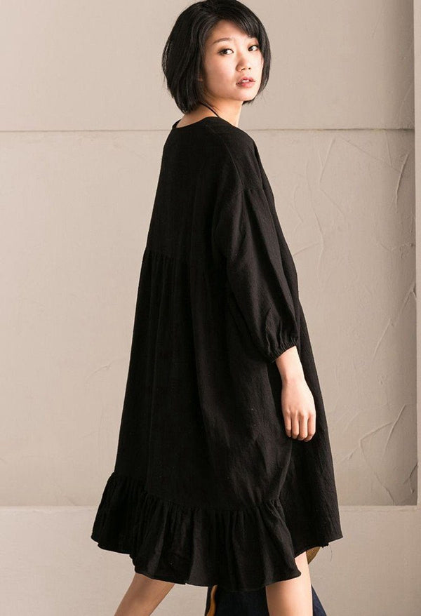 Black Korean Style Cotton Linen Falbala Bat Sleeve Round Neck Loose Women Clothes Q8300B - FantasyLinen