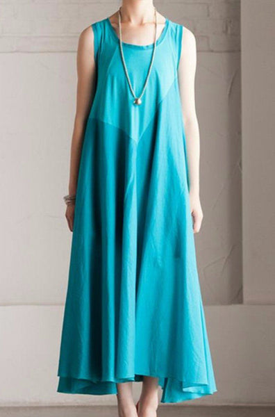 Summer Cotton Patchwork Dress Maxi Loose Long Dress Sleeveless Clothes Women's Dress
