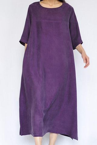 Purple Heavy Copper Ammonia Silk Women Dresses Caftans Gown