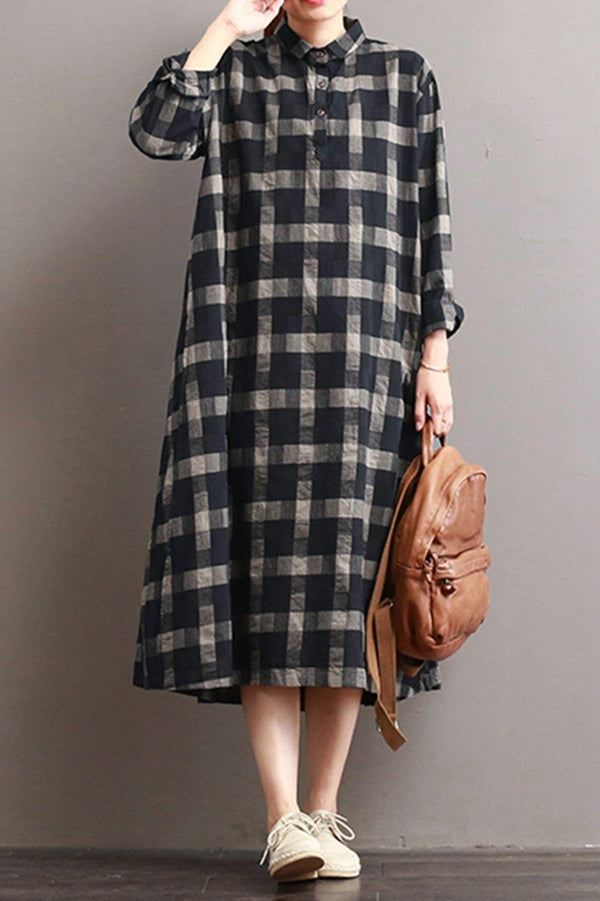 Linen Plaid Casual Loose Shirt Dress,Winter Long Shirt for Women Q7811 - FantasyLinen