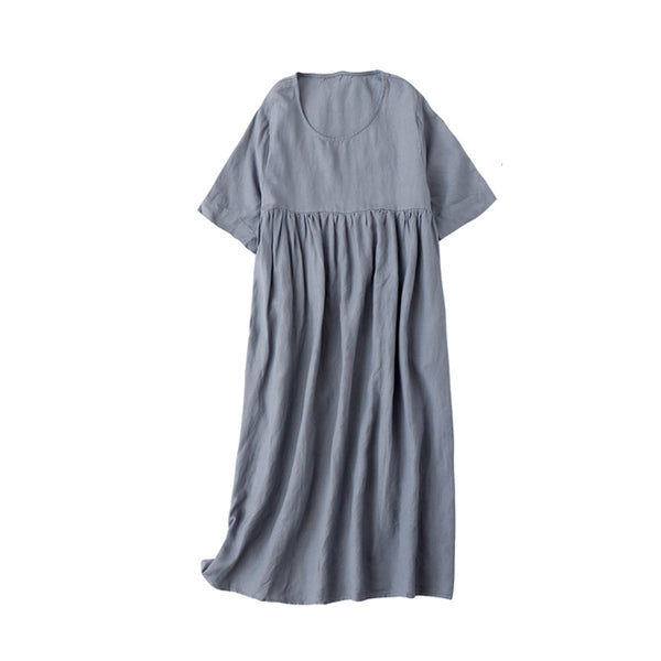 Women Simple Casual Linen Pure Color High Waist Dress