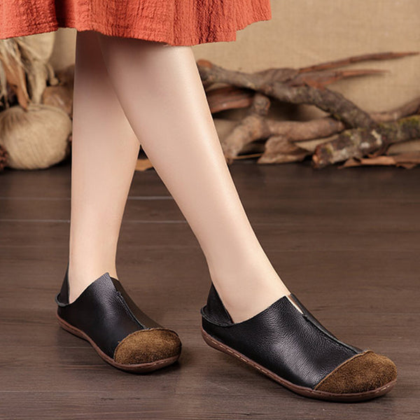 Fashionable Leather Retro Splicing Black Women Single Shoes