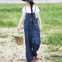 Loose Blue Striped Linen Wide Leg Overalls For Women