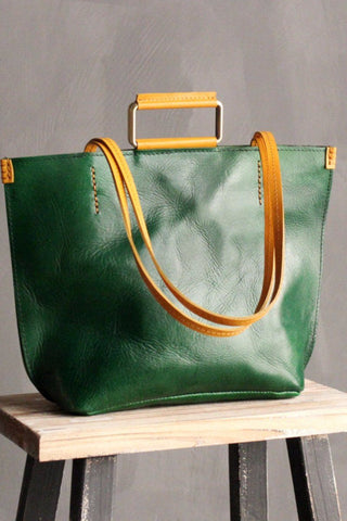 Hnadmade Vintage Genuine Leather Simply Head Layer Cowhide Handbag B3720L