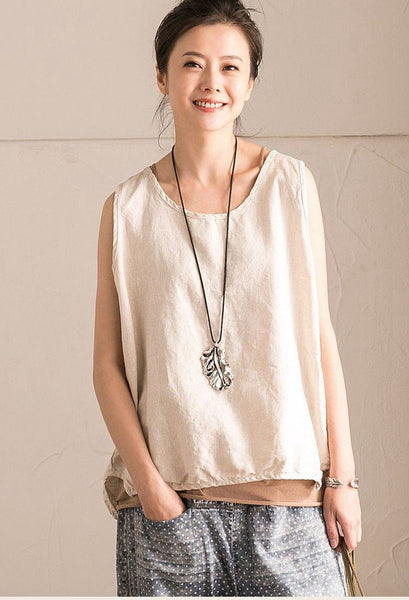 Rice Summer Linen Loose T-shirt For Women Top B102B